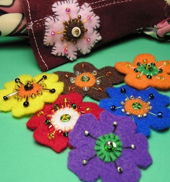 Mayflowers May flowers Felt Flowers Beaded